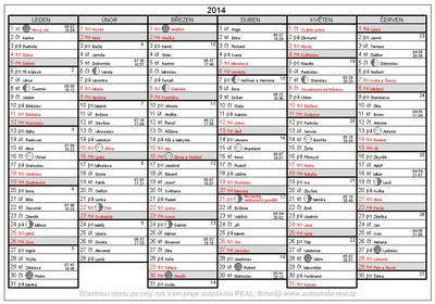 kalendar jmen svatek Kalendář 2014 v PDF zdarma ke stažení a vytištění kalendar jmen svatek